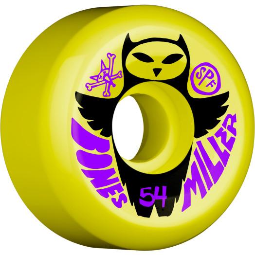 BONES SPF Pro Miller Owl 54x31 P5 Skateboard Wheel 84B  4pk Yellow