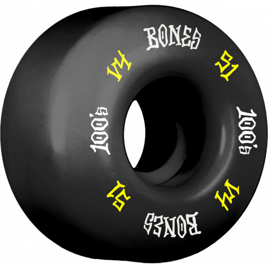 BONES WHEELS 100's #12 OG Formula 51x32 V4 Skateboard Wheels 100A 4pk Black