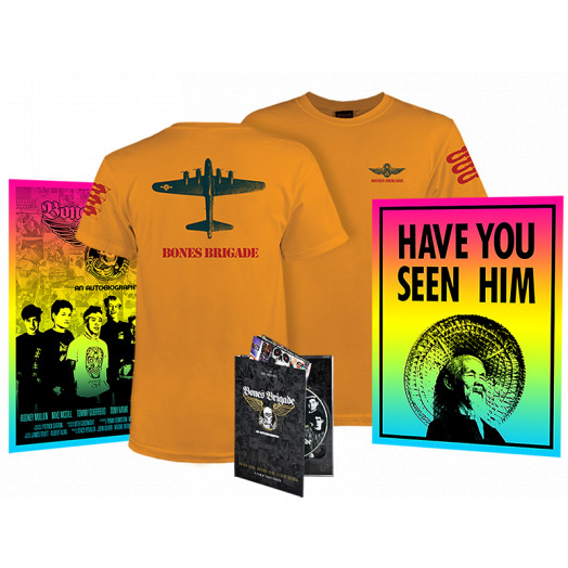 BONES BRIGADE: An Autobiography Blu-Ray/DVD + Gold Bomber T-Shirt  + Colby Posters Combo