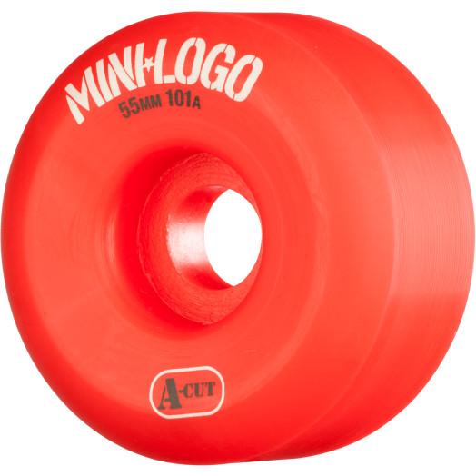 Mini Logo Skateboard Wheel A-cut 55mm 101A Red 4pk