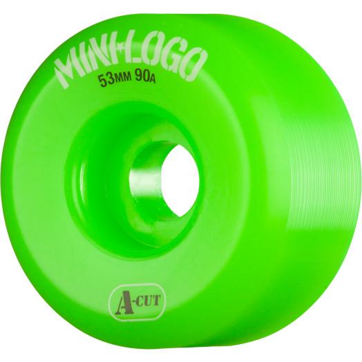 Mini Logo Skateboard Wheels A-cut 53mm 90A Green 4pk