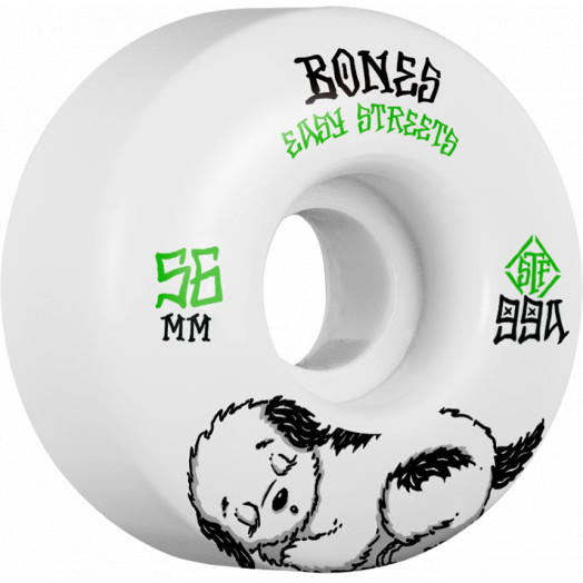 BONES WHEELS STF Rest Easy Skateboard Wheels 56mm 99a Easy Streets Fatties 4pk White White