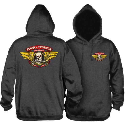 Powell Peralta Winged Ripper Hooded Sweatshirt Charcoal