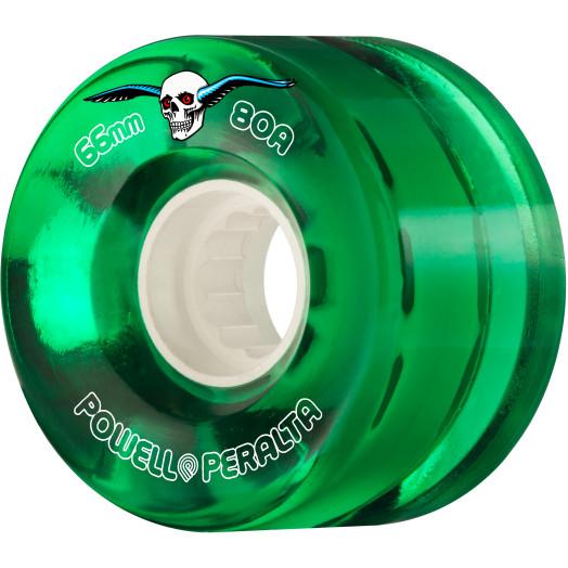 Powell Peralta Clear Cruiser Skateboard Wheel Green 66mm 80A 4pk