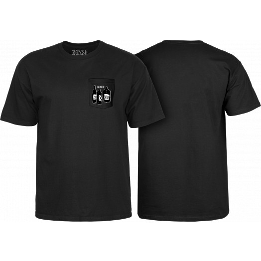 BONES WHEELS Speak East T-shirt w/ Pocket Black