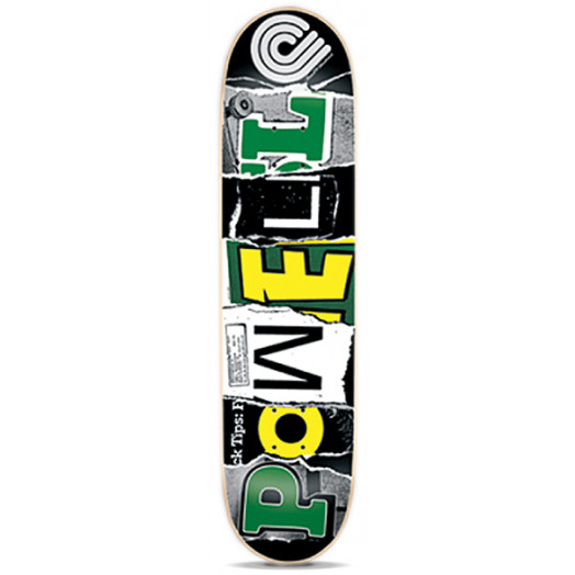 Powell Magazine Letters Green Skateboard Deck - 7.5 x 31.375