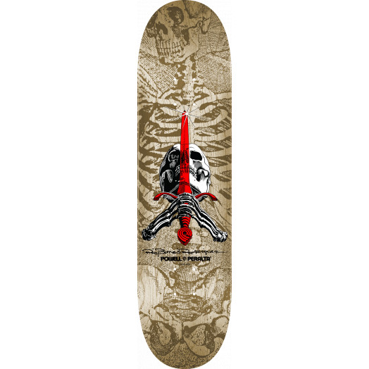Powell Peralta Skull and Sword Skateboard Deck - Natural - Shape 246 - 9.05 x 32.095
