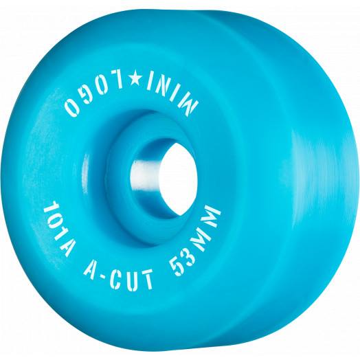 """Mini Logo Skateboard Wheels A-cut """"2"""" 53mm 101A Blue 4pk"""