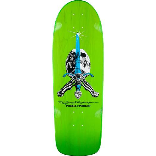 Powell Peralta Rodriguez Skull and Sword OG Skateboard Blem Deck Green - 10 x 30