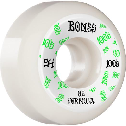 BONES WHEELS OG Formula Skateboard Wheels 100 #3 54mm V5 Sidecut 4pk White